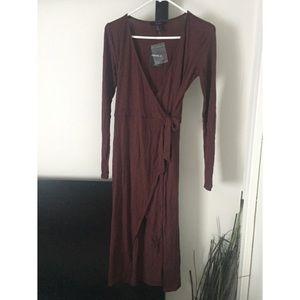 NWT Maroon Midi Wrap Dress